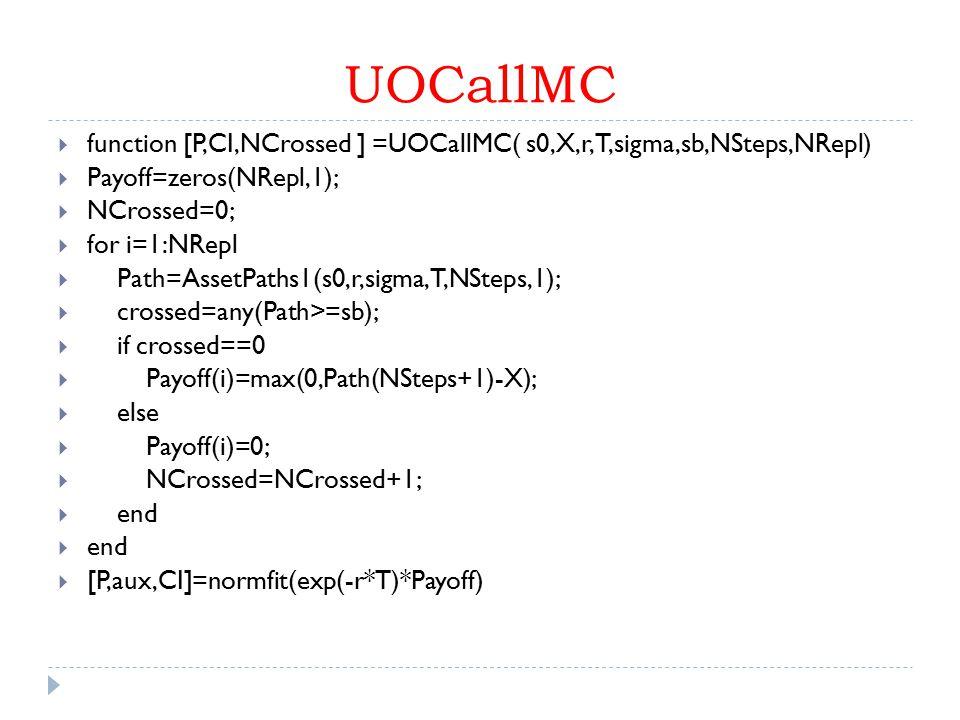 UOCallMC function [P,CI,NCrossed ] =UOCallMC( s0,X,r,T,sigma,sb,NSteps,NRepl) Payoff=zeros(NRepl,1);